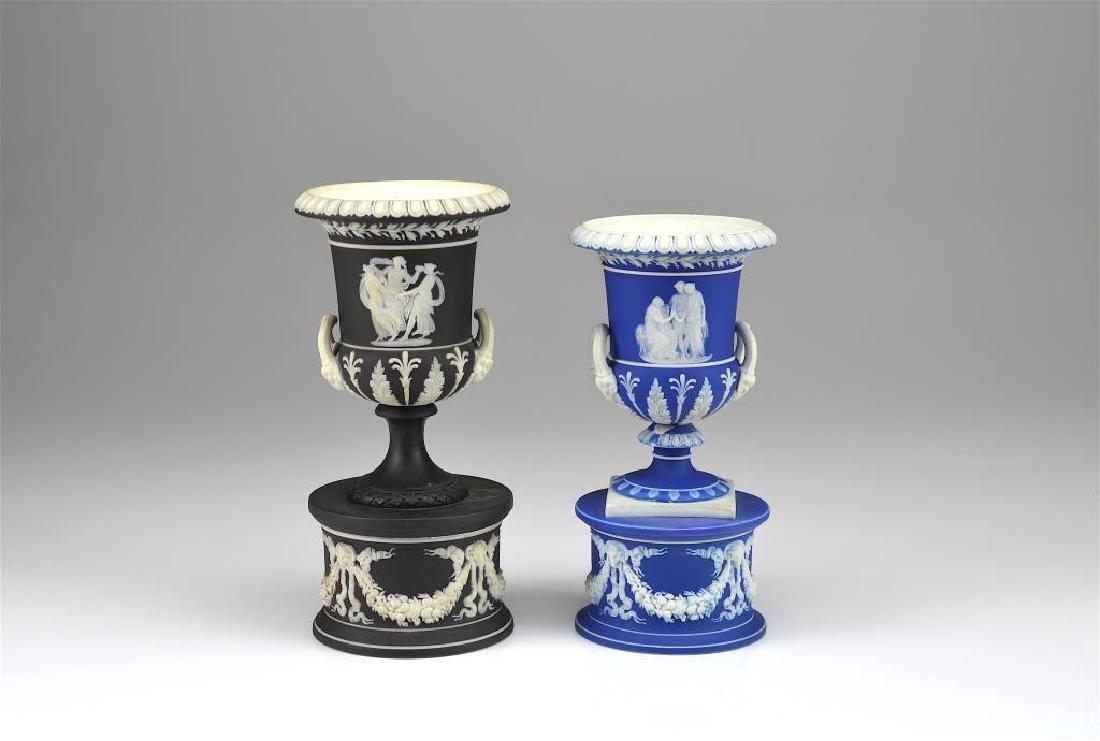 Two Wedgwood Jasperware campagna vases