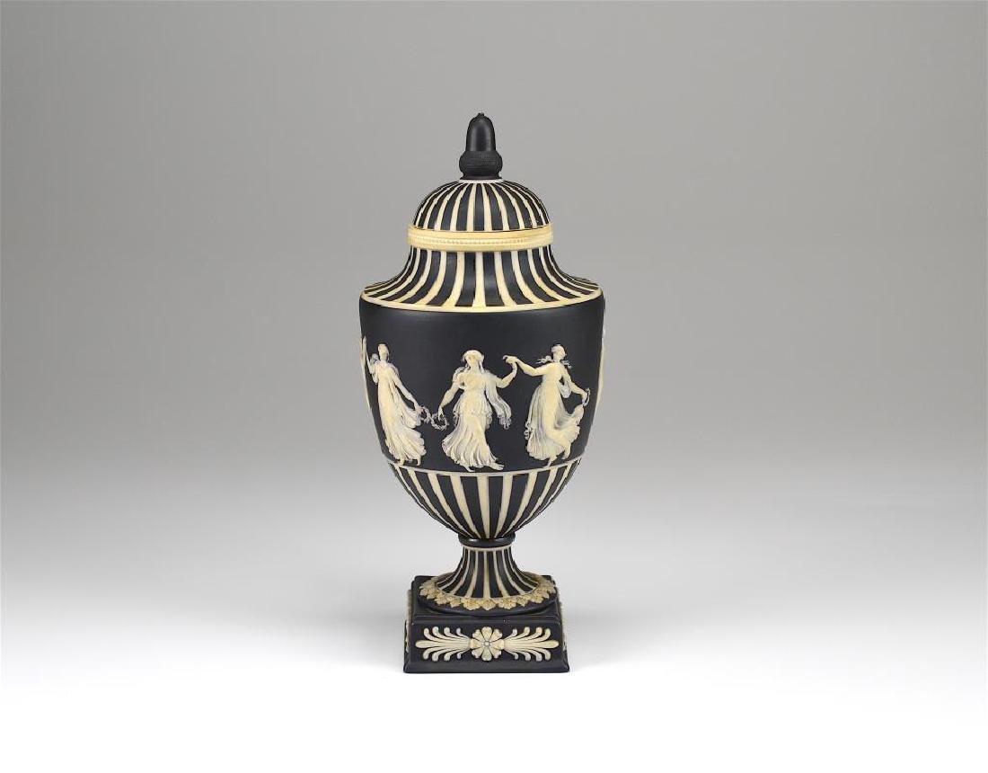 Wedgwood black basalt Jasperware covered vase
