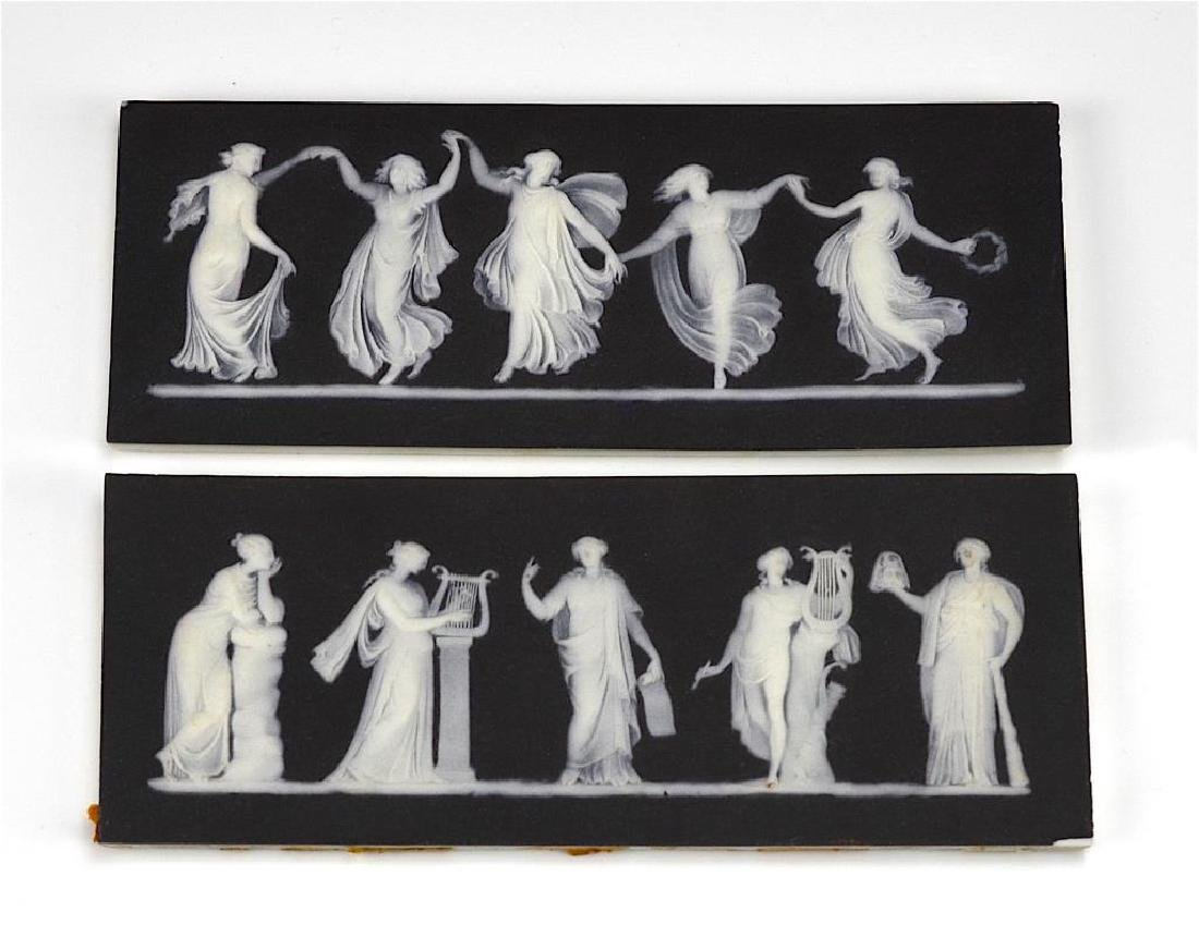 Two Wedgwood black basalt Jasperware plaques - 2