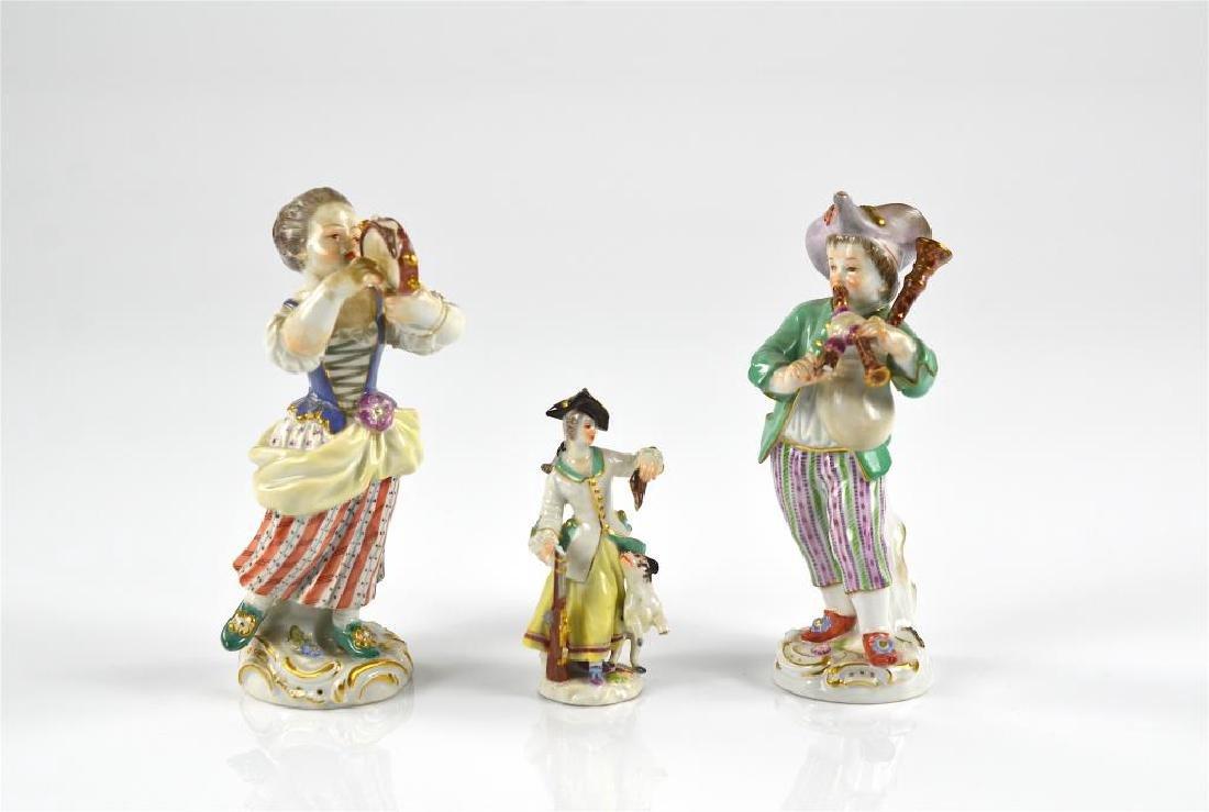 Three Meissen German porcelain figures