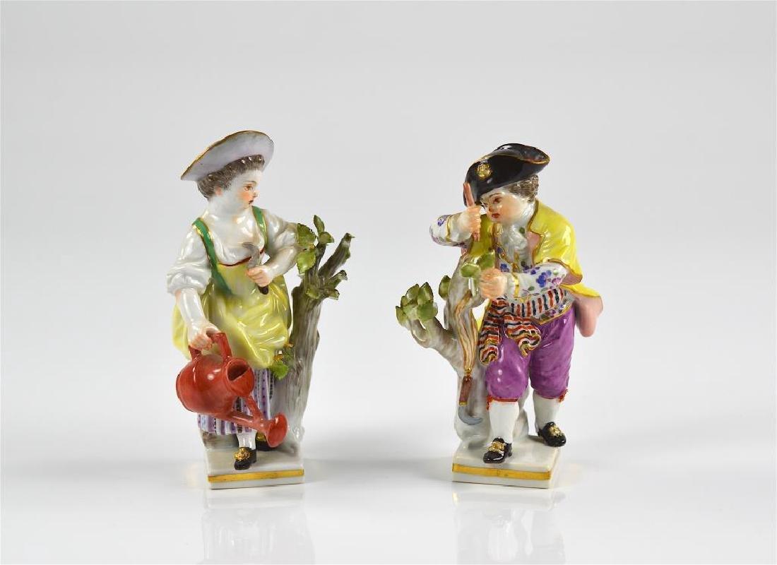 Pair of Meissen German porcelain figures