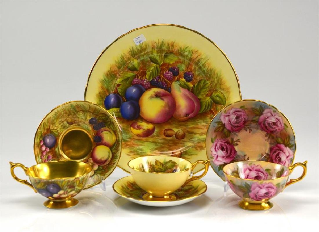 Aynsley plate and three cups & saucers
