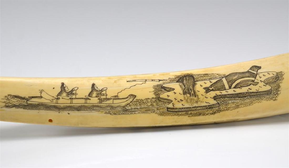 Inuit tusk scrimshaw cribbage board - 3