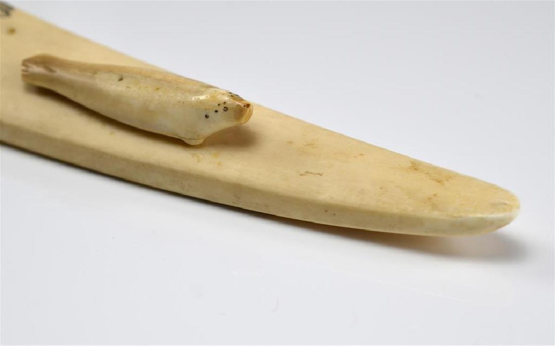 Inuit tusk scrimshaw cribbage board - 5
