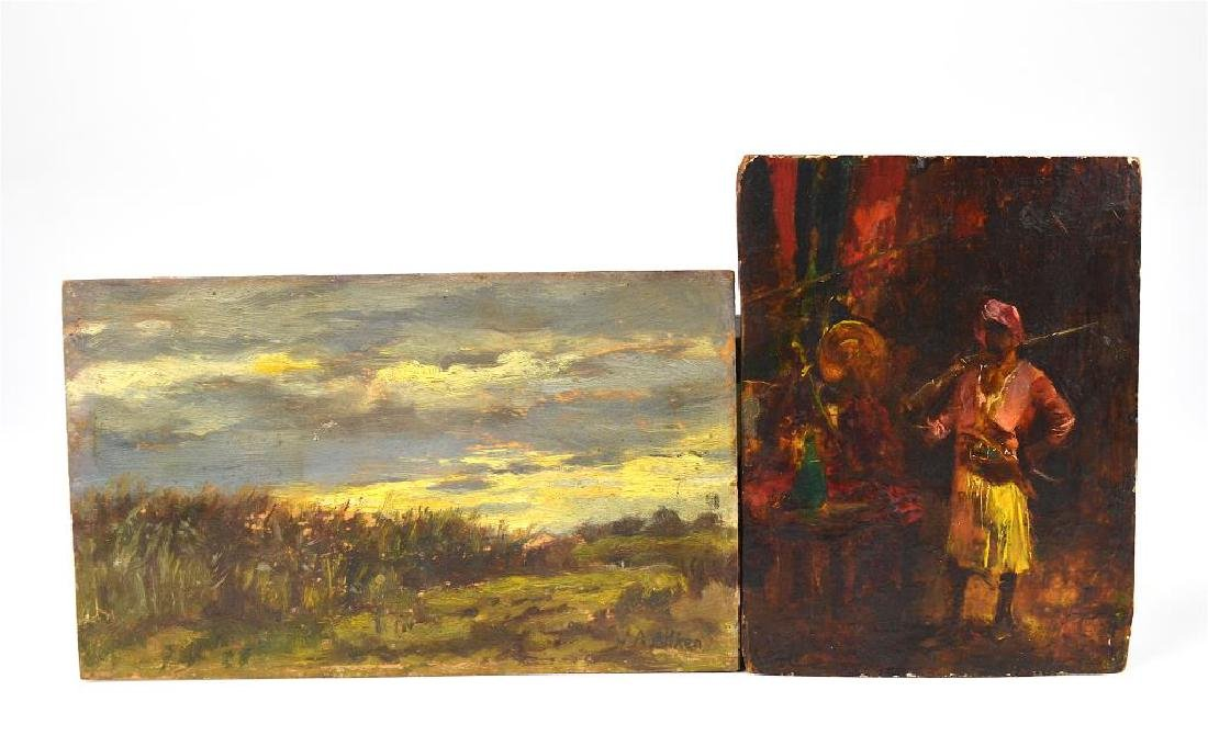 Two small paintings on wood panel