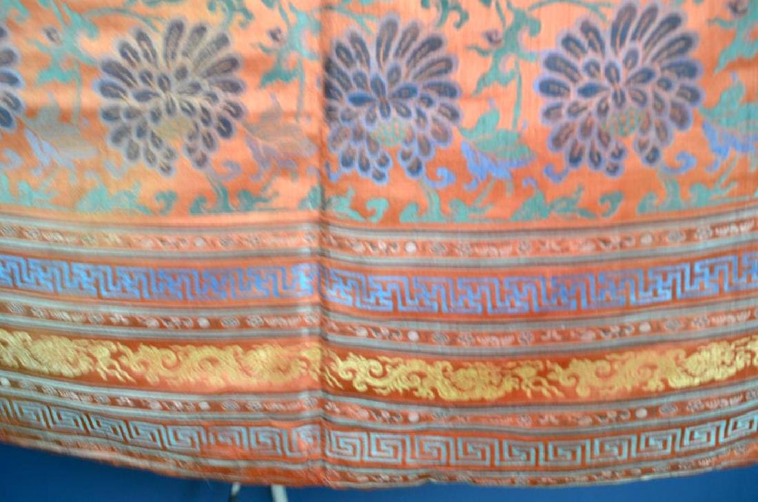 CHINESE RED GROUND SILK EMBROIDERED FLORAL TEXTILE - 2