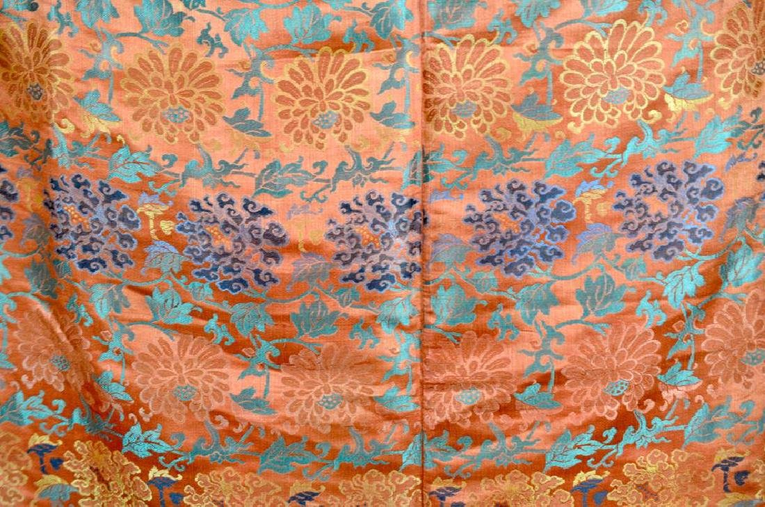 CHINESE RED GROUND SILK EMBROIDERED FLORAL TEXTILE - 3