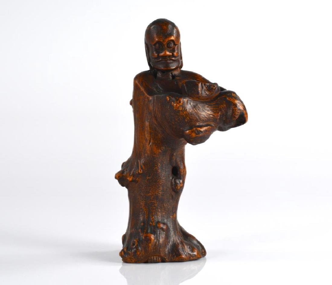 CHINESE ROOT WOOD CARVED STANDING FIGURE