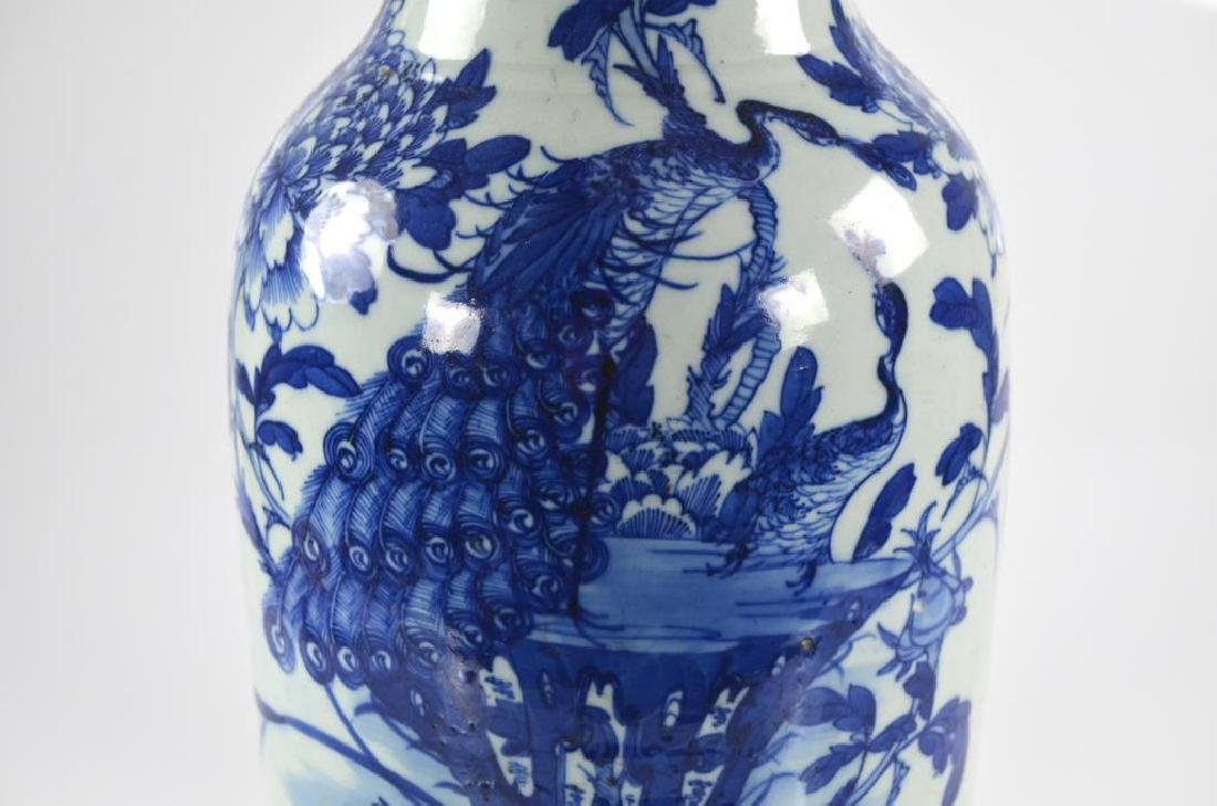 CHINESE EXPORT BLUE & WHITE PORCELAIN VASE - 6