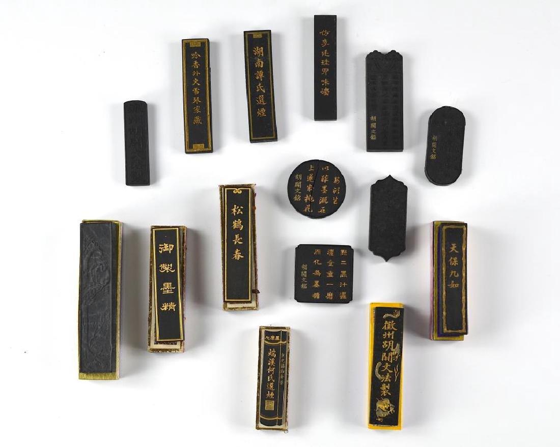 FIFTEEN CHINESE HUIZHOU HU KAIWEN INK STICKS - 5