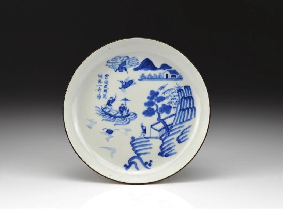 CHINESE EXPORT BLUE & WHITE PORCELAIN DISH - 2