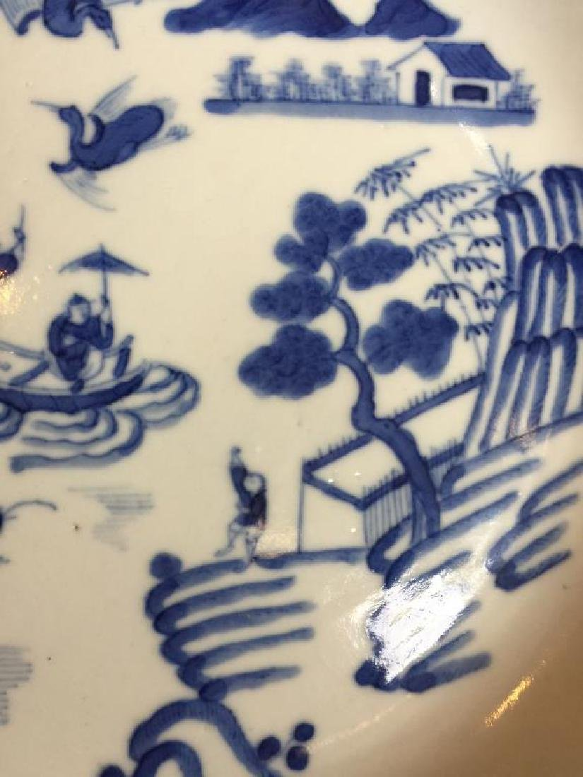 CHINESE EXPORT BLUE & WHITE PORCELAIN DISH - 5