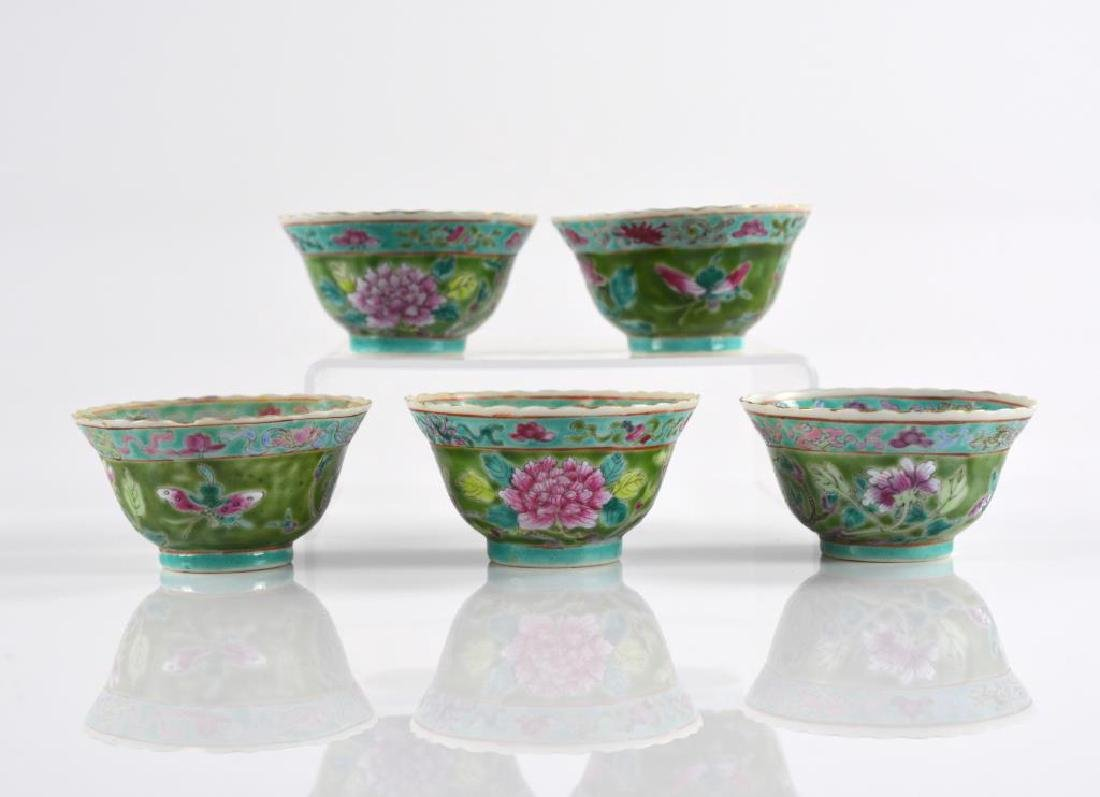 FIVE CHINESE FAMILLE ROSE PORCELAIN CUPS