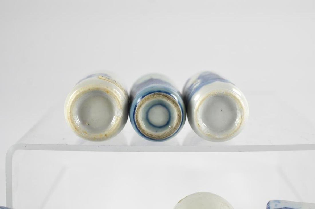 SEVEN CHINESE BLUE & WHITE PORCELAIN SNUFF BOTTLES - 2