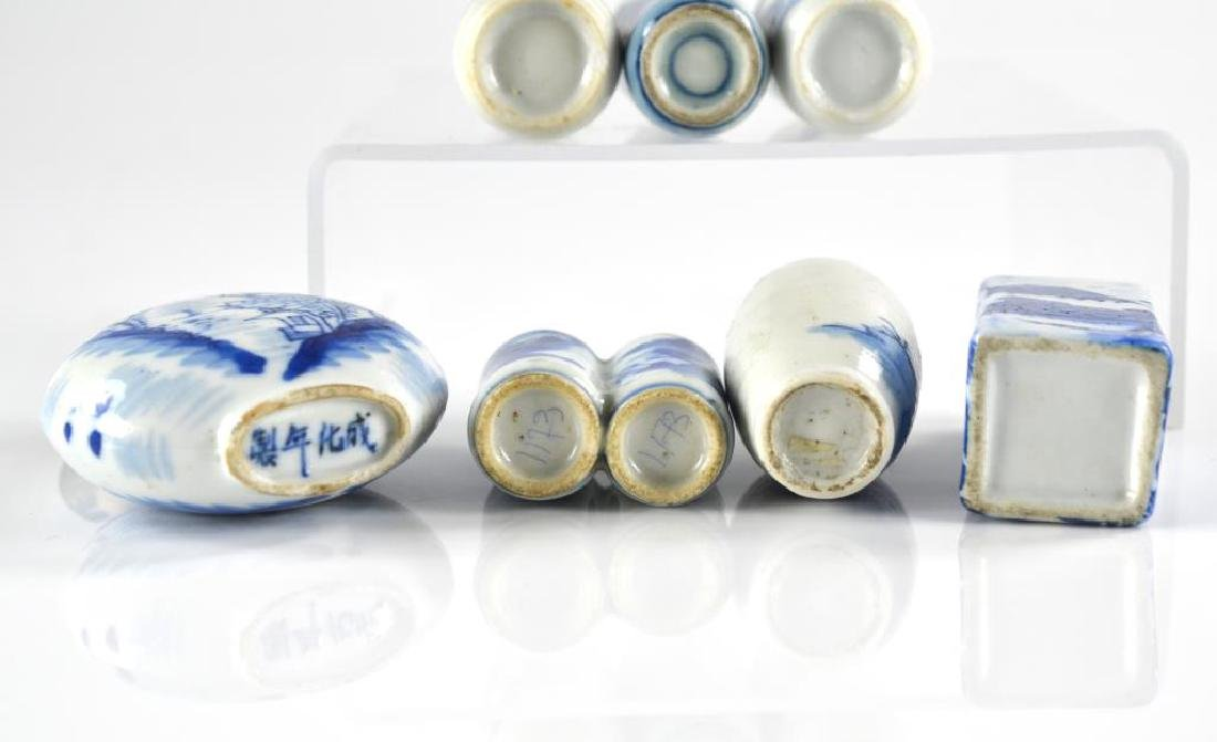 SEVEN CHINESE BLUE & WHITE PORCELAIN SNUFF BOTTLES - 3
