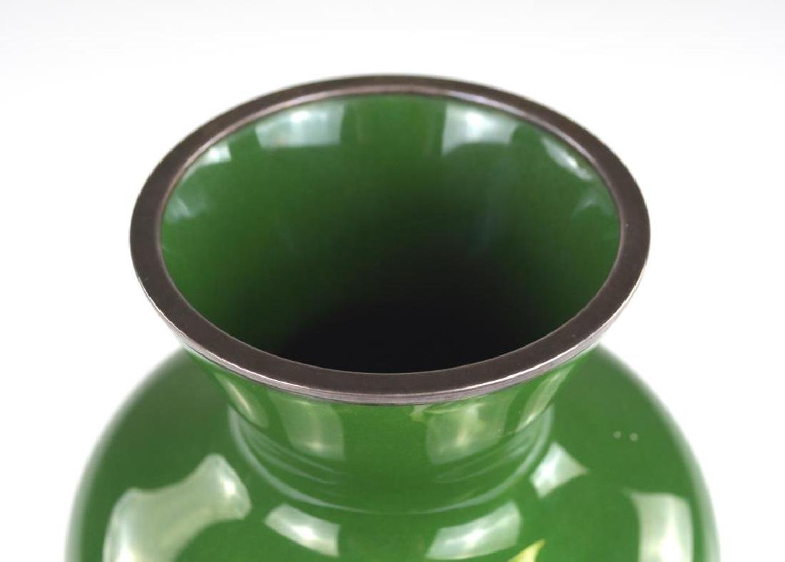 JAPANESE GREEN ANDO CLOISONNE ENAMELLED VASE - 2