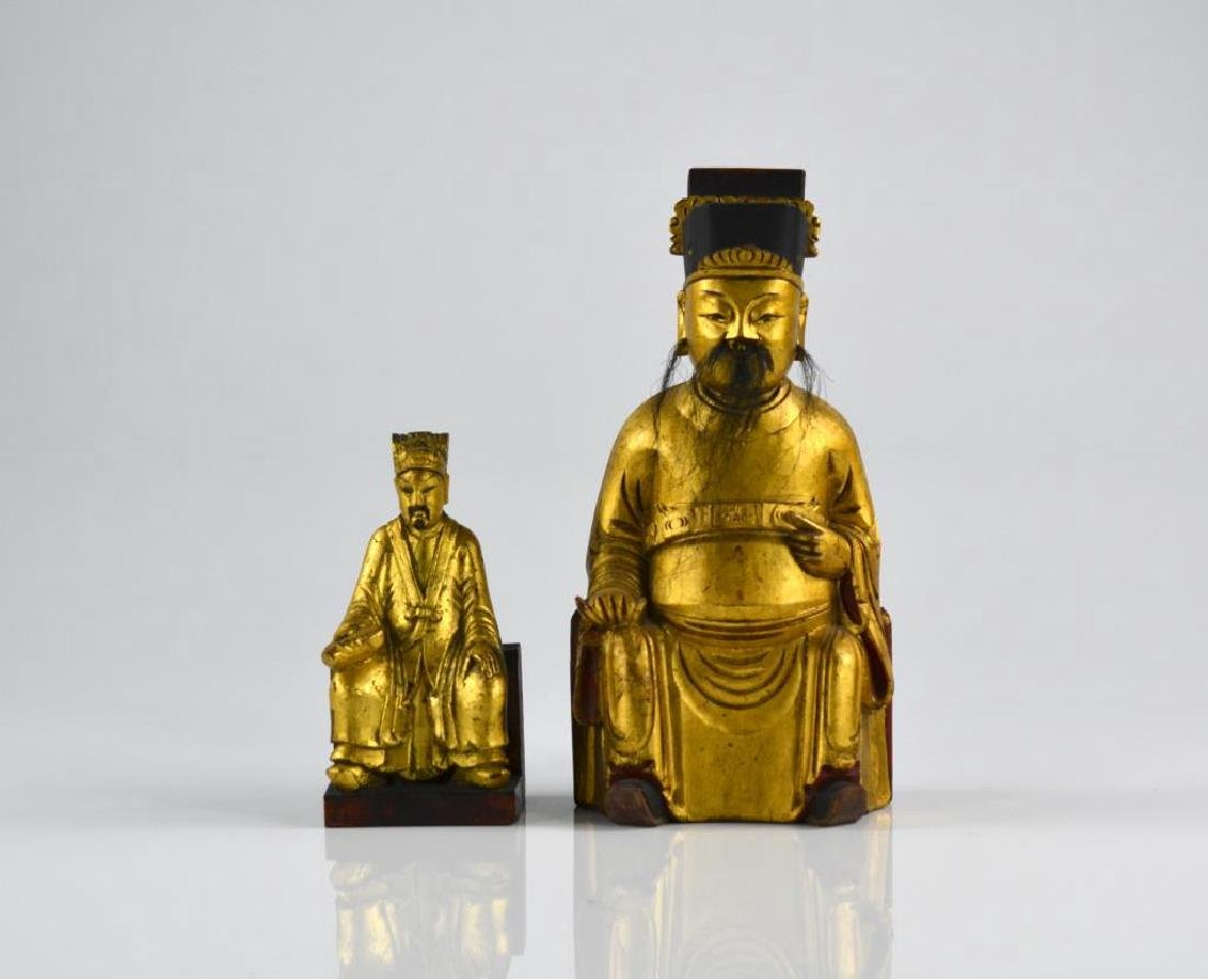 TWO CHINESE GILT WOOD CARVED GOD OF WEALTH STATUE