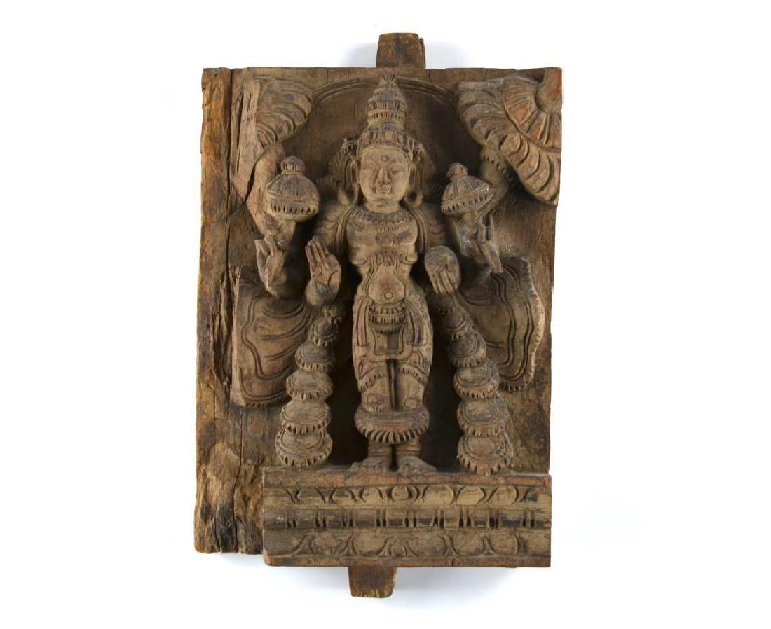 INDIAN CARVED WOOD HINDU LAKSHMI STELE