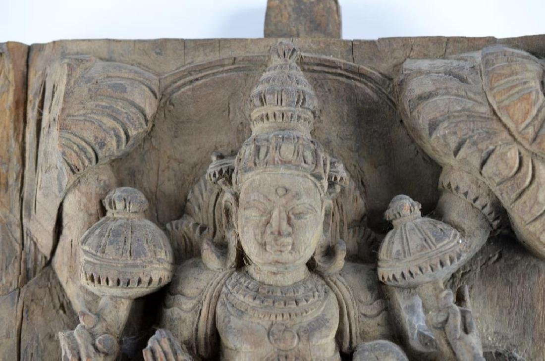 INDIAN CARVED WOOD HINDU LAKSHMI STELE - 2