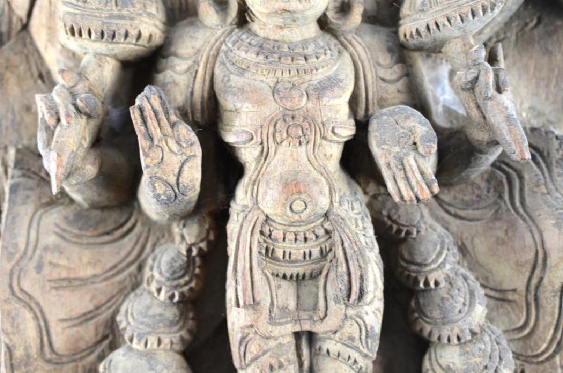 INDIAN CARVED WOOD HINDU LAKSHMI STELE - 3