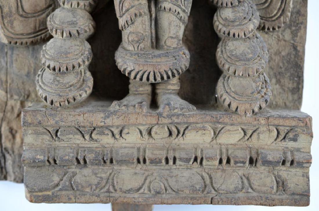 INDIAN CARVED WOOD HINDU LAKSHMI STELE - 4