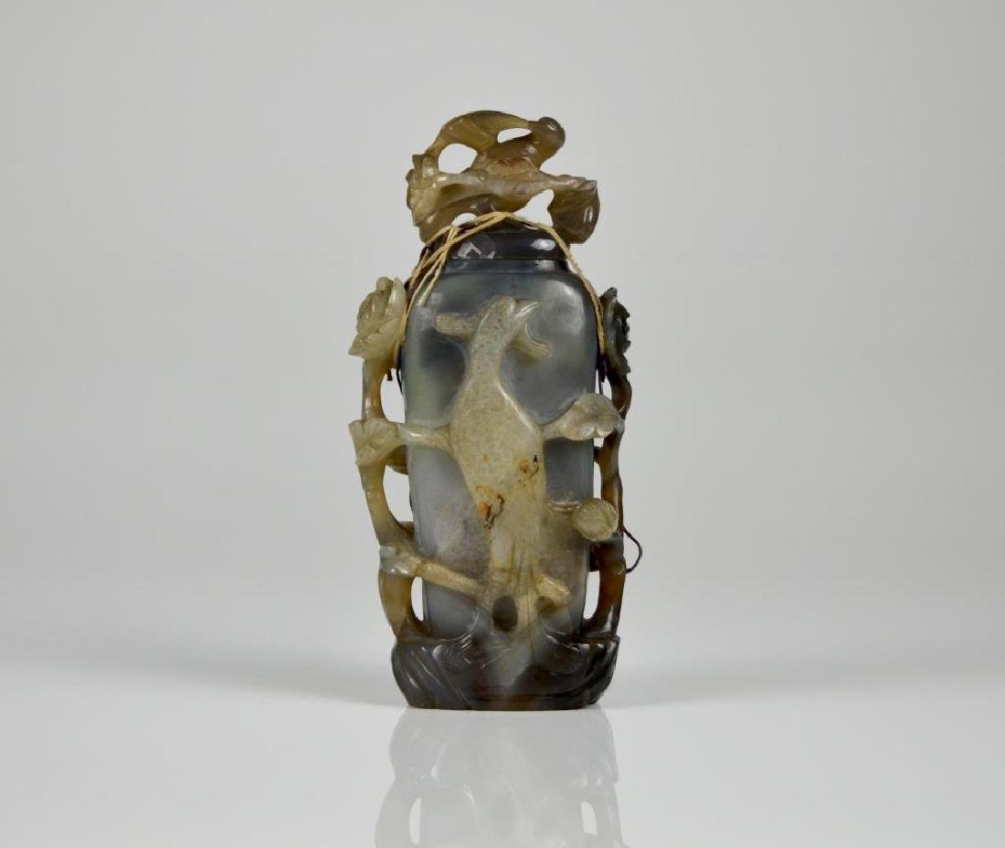 CHINESE AGATE CARVED ORNAMENTAL VASE