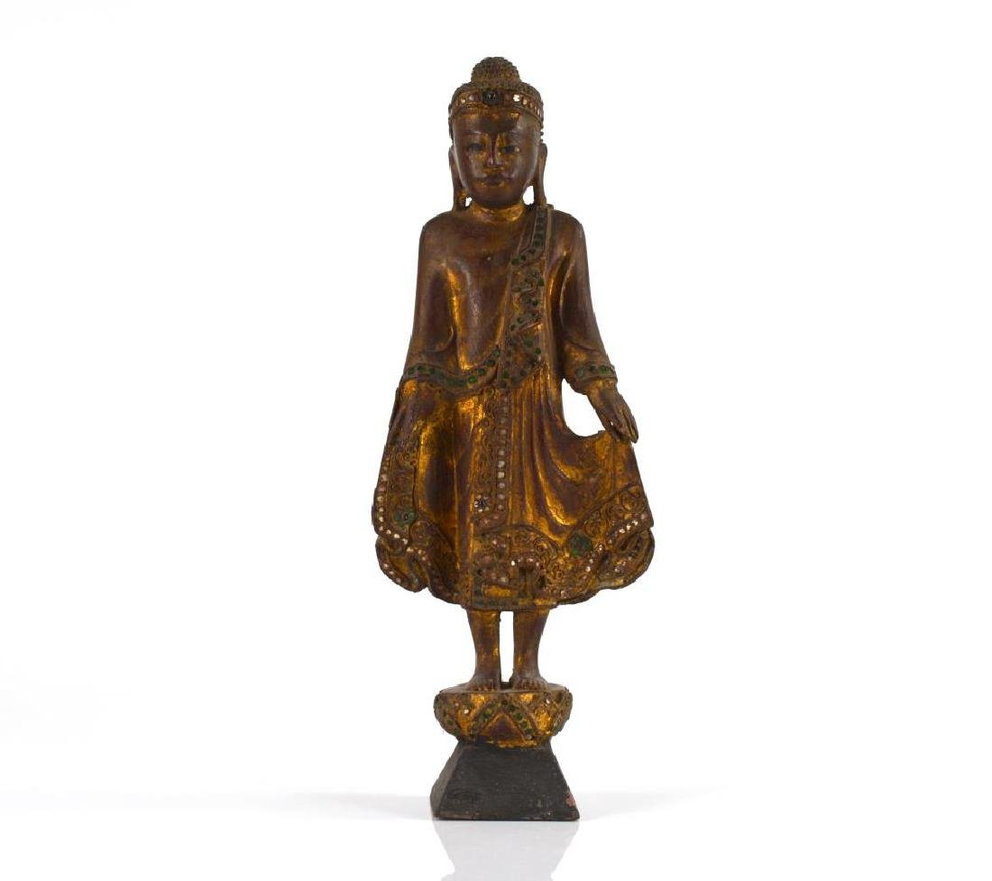 BURMESE CARVED WOOD STANDING BUDDHA WITH INLAYS