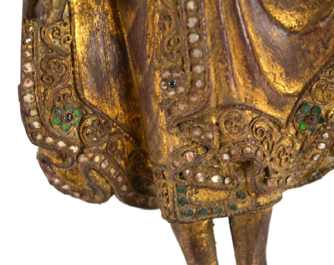 BURMESE CARVED WOOD STANDING BUDDHA WITH INLAYS - 2