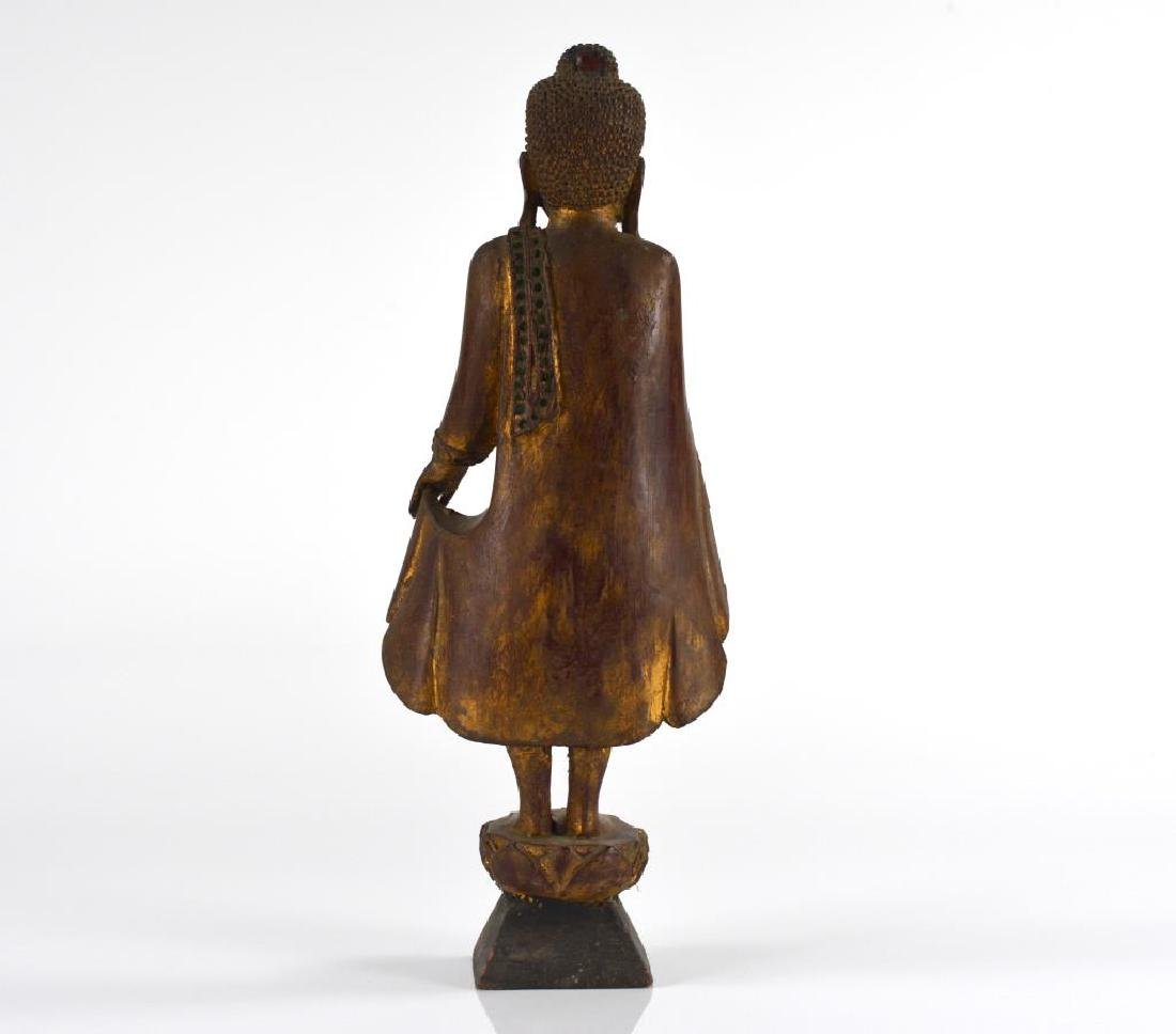 BURMESE CARVED WOOD STANDING BUDDHA WITH INLAYS - 3