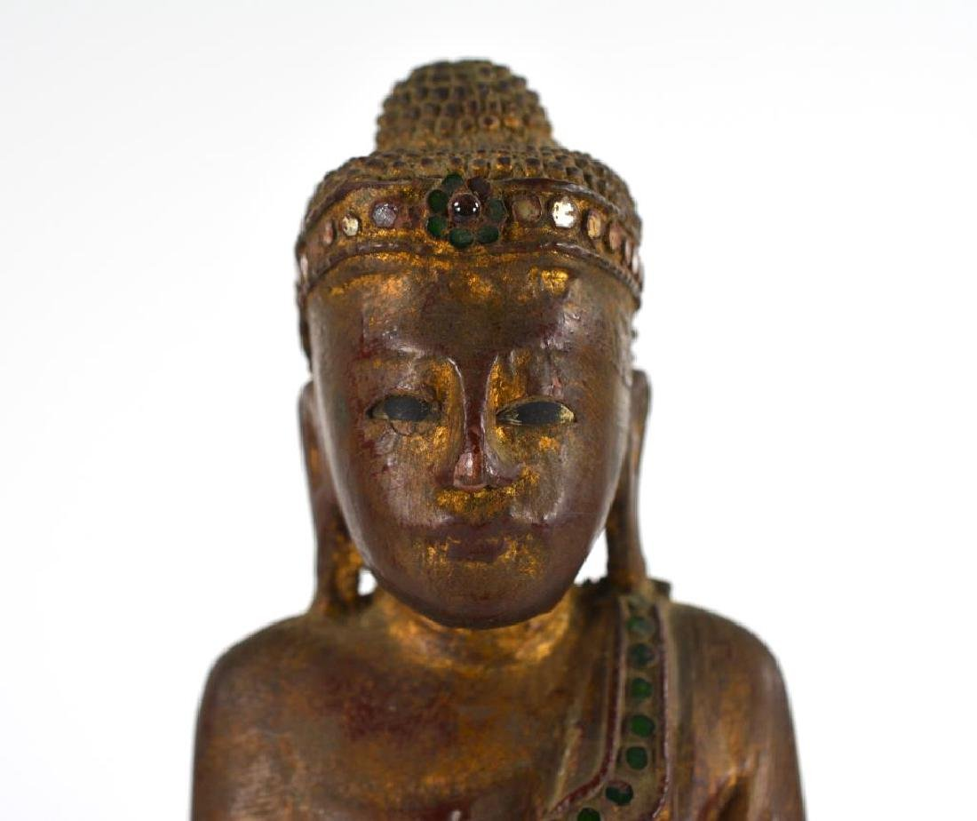 BURMESE CARVED WOOD STANDING BUDDHA WITH INLAYS - 5