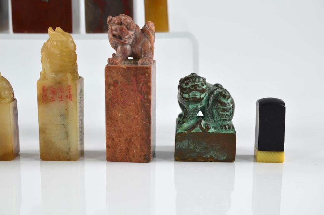 TWELVE CHINESE CARVED SEALS OF MIXED MATERIALS - 6