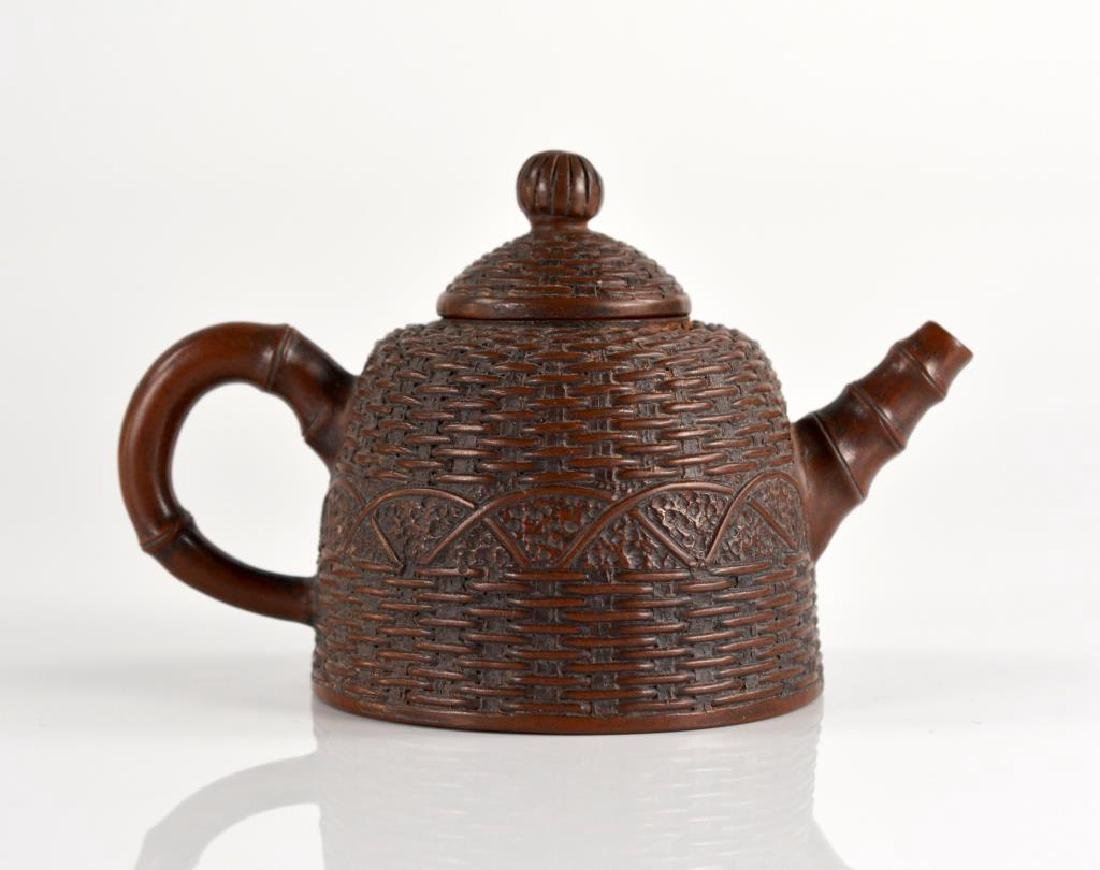 CHINESE YIXING POTTERY BASKET WEAVE TEA POT