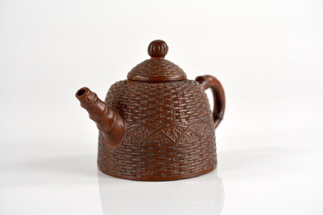 CHINESE YIXING POTTERY BASKET WEAVE TEA POT - 5