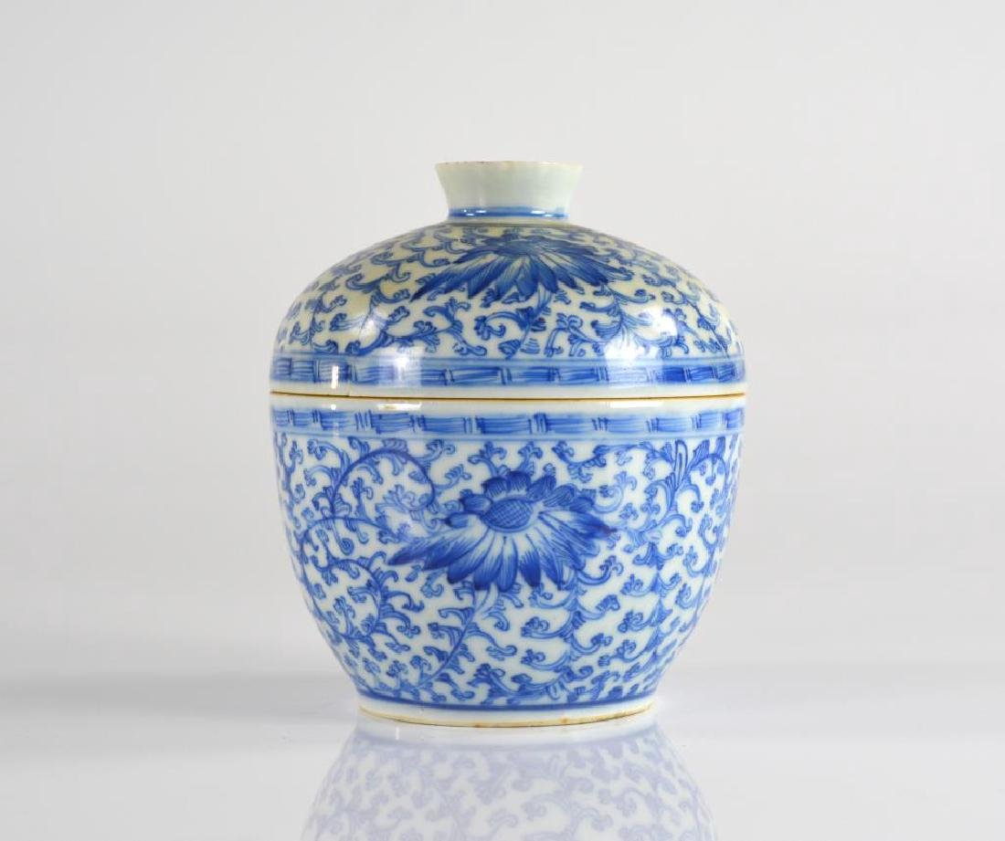 CHINESE BLUE & WHITE PORCELAIN COVERED BOWL