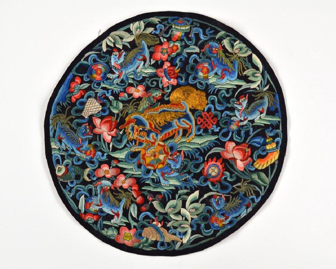 CHINESE BLUE GROUND SILK EMBROIDERED ROUNDEL