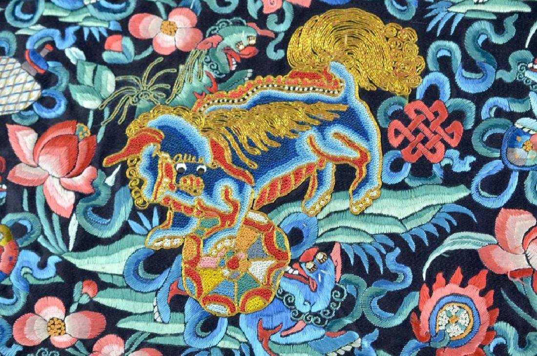 CHINESE BLUE GROUND SILK EMBROIDERED ROUNDEL - 2