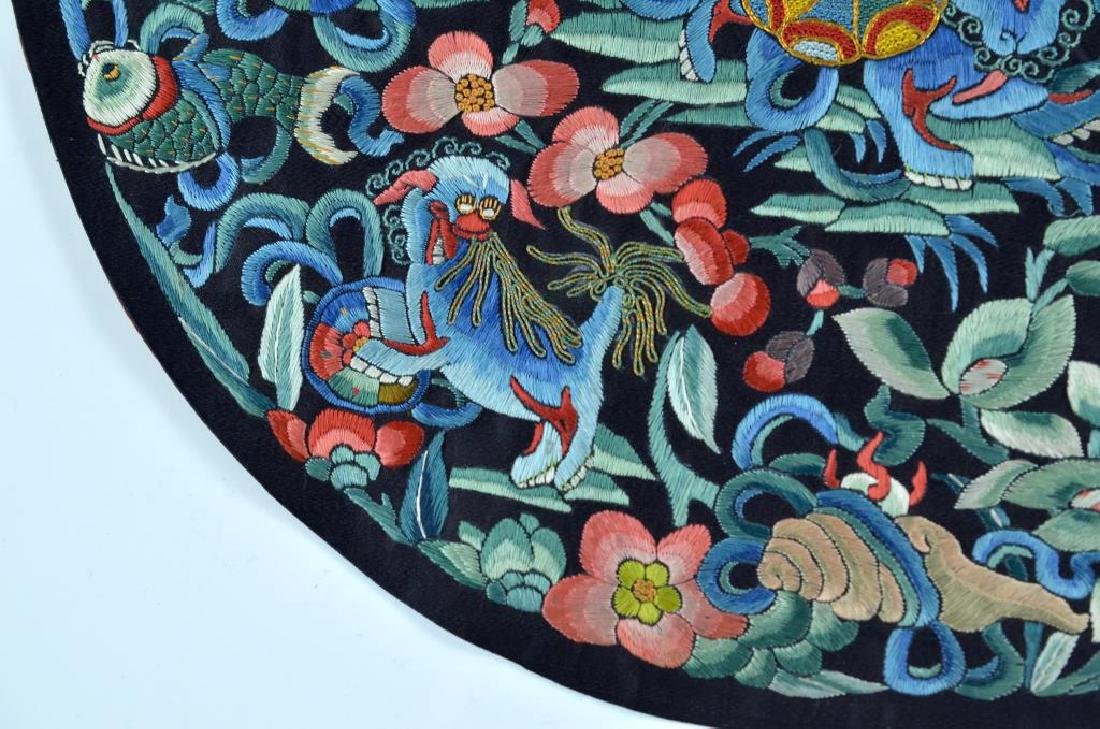 CHINESE BLUE GROUND SILK EMBROIDERED ROUNDEL - 3