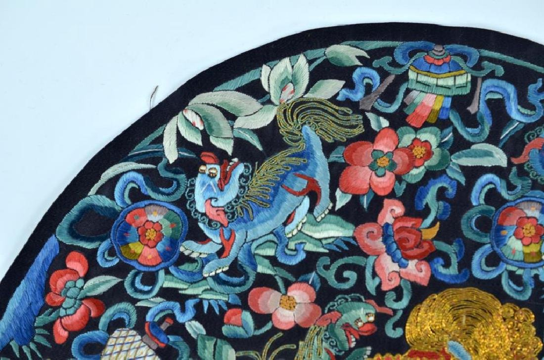CHINESE BLUE GROUND SILK EMBROIDERED ROUNDEL - 4