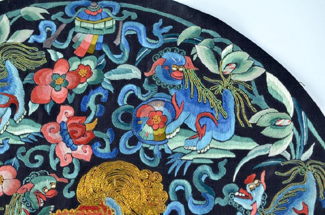 CHINESE BLUE GROUND SILK EMBROIDERED ROUNDEL - 5