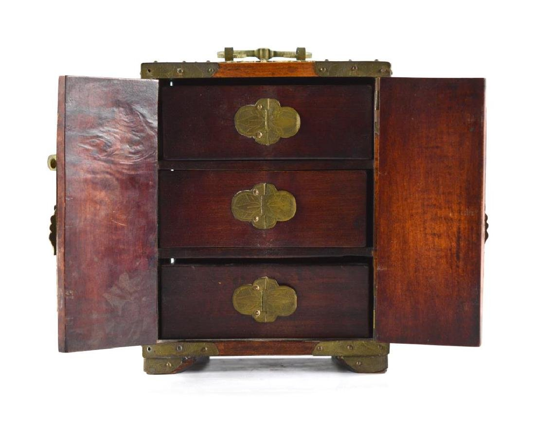 BRASS MOUNTED WOODEN JEWELLRY BOX WITH JADE - 2