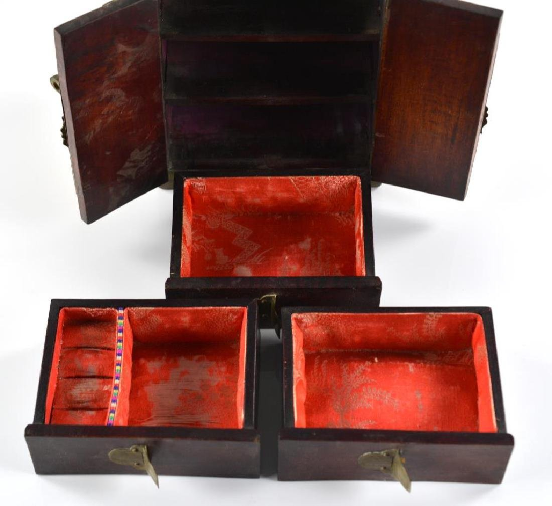BRASS MOUNTED WOODEN JEWELLRY BOX WITH JADE - 3
