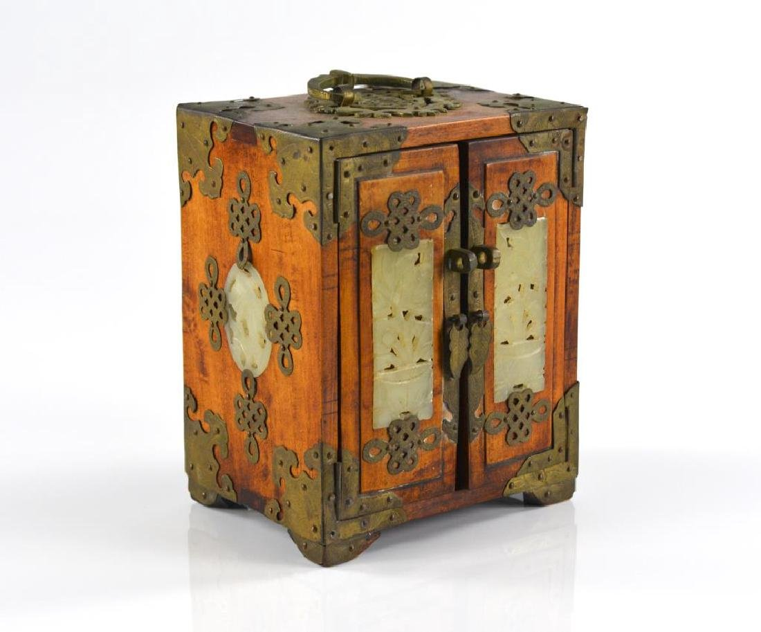 BRASS MOUNTED WOODEN JEWELLRY BOX WITH JADE - 4