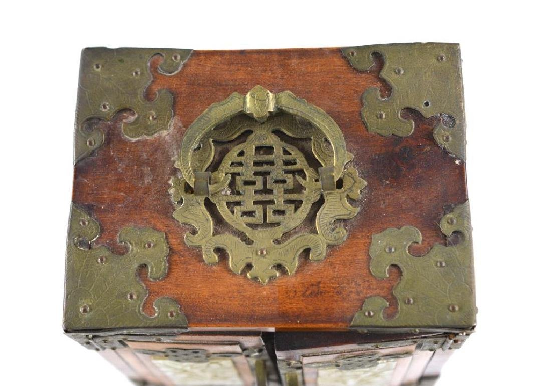 BRASS MOUNTED WOODEN JEWELLRY BOX WITH JADE - 5