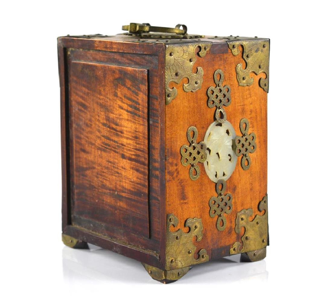BRASS MOUNTED WOODEN JEWELLRY BOX WITH JADE - 6