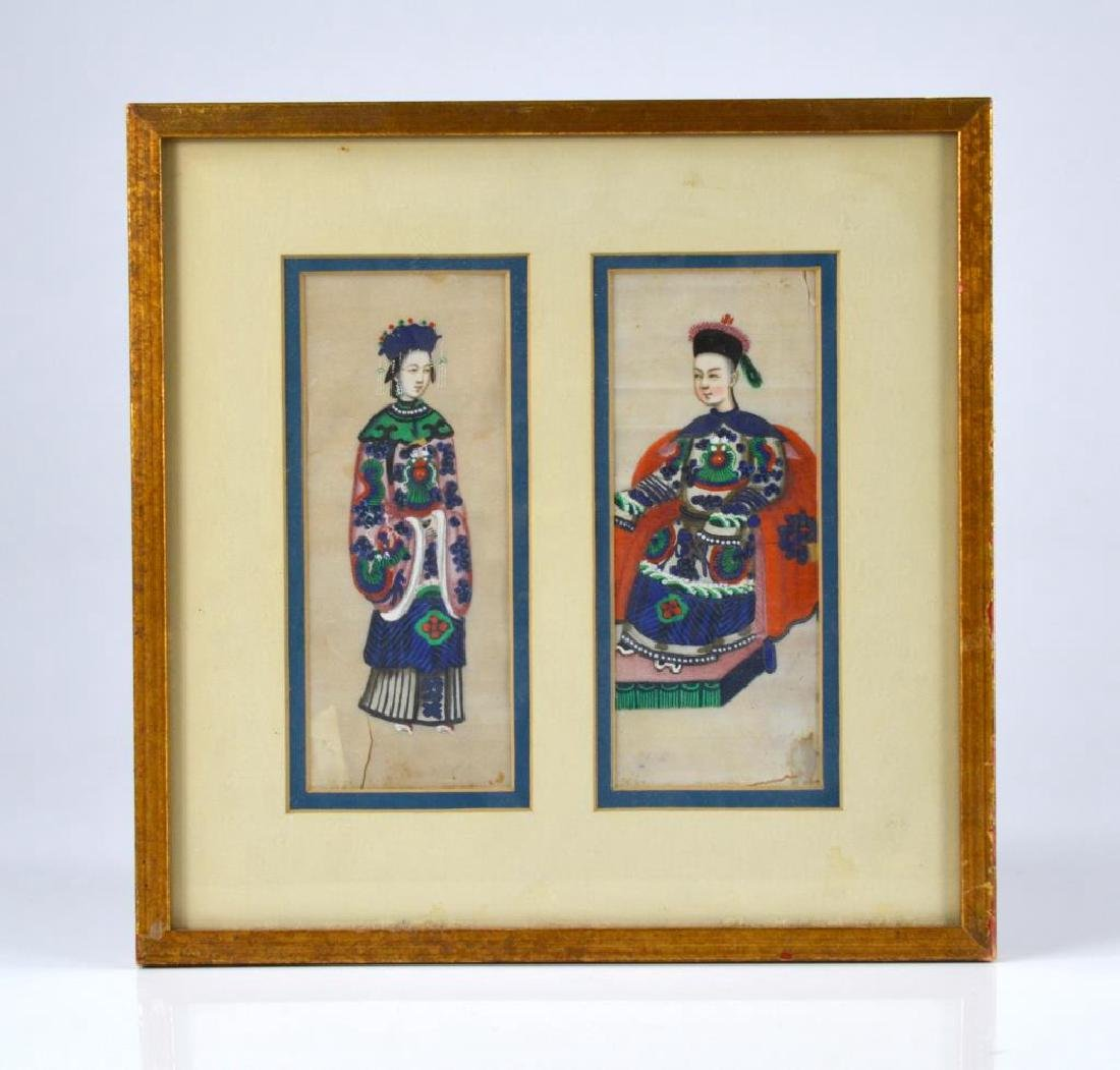 CHINESE EXPORT PITH PAINTING OF TWO FIGURES