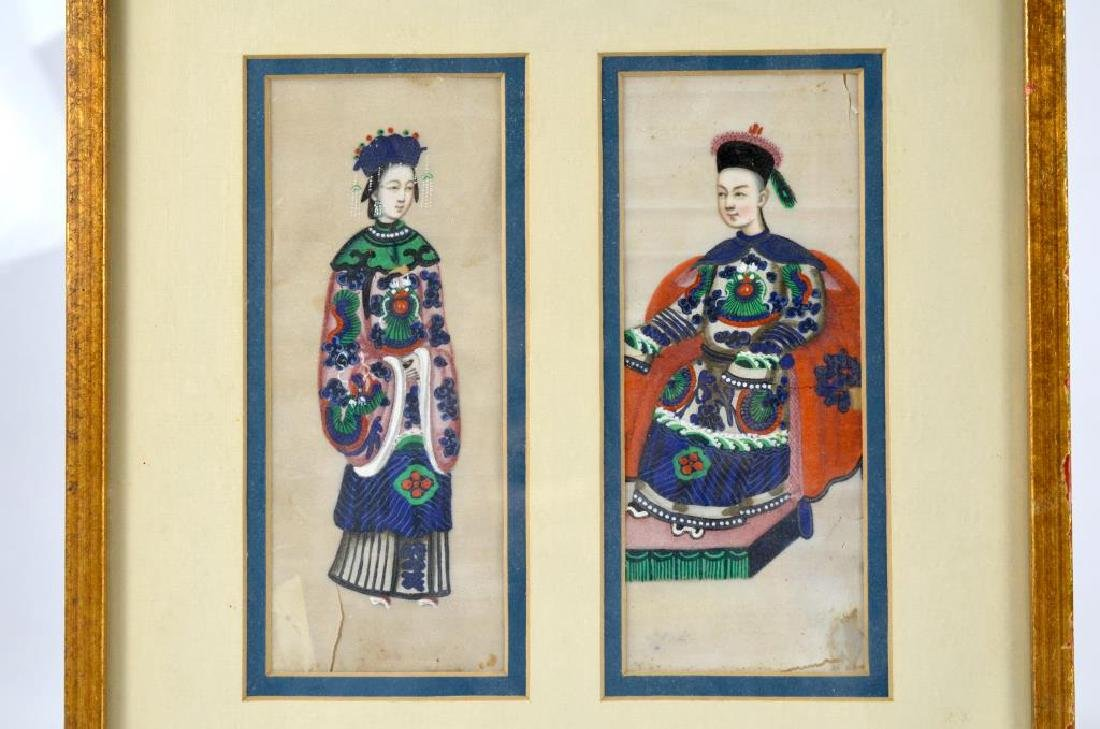 CHINESE EXPORT PITH PAINTING OF TWO FIGURES - 2