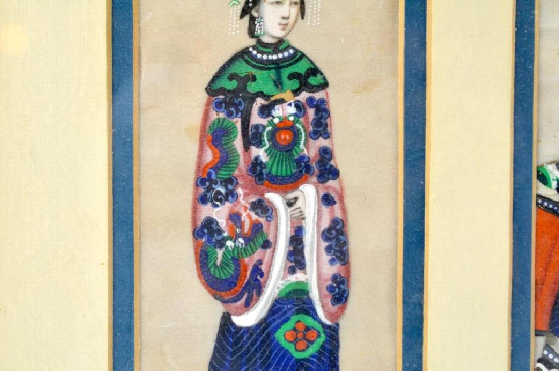 CHINESE EXPORT PITH PAINTING OF TWO FIGURES - 4