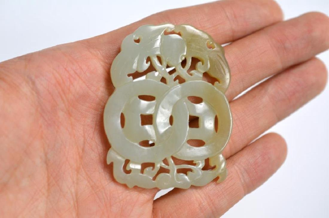 CHINESE JADE DOUBLE COIN AND BAT PENDANT - 2