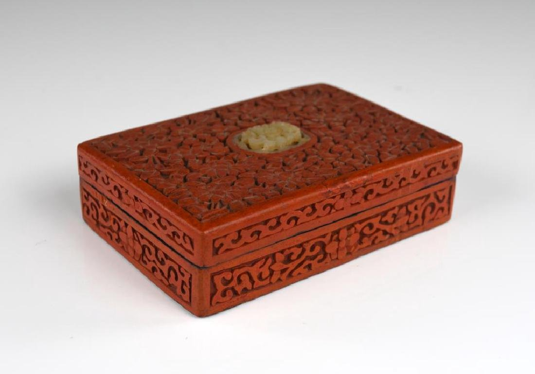 CHINESE CARVED CINNABAR LACQUER BOX WITH JADE