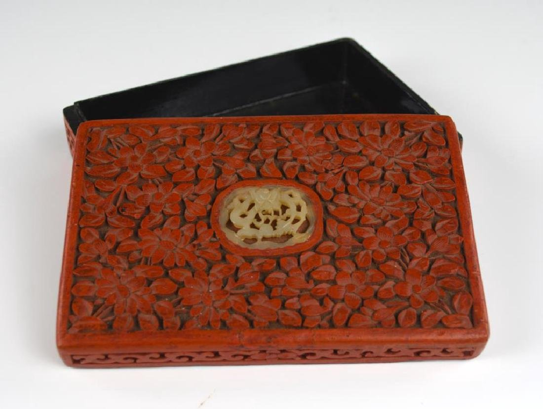 CHINESE CARVED CINNABAR LACQUER BOX WITH JADE - 2